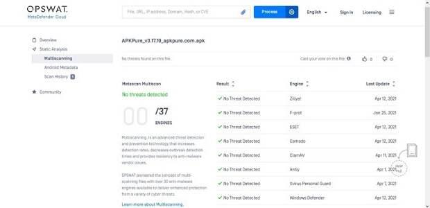 Как сканировать файлы Apk на наличие вирусов Metadefender