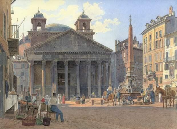 Только раз в году солнечные лучи изнутри храма освещали решетку у входа в Пантеон (Jakob Alt, 1836 г.).   Фото: ru.wikipedia.org.