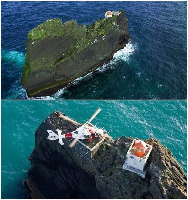После создания вертолетной площадки появилась возможность доставить людей на вершину утеса по воздуху (Thridrangar Lighthouse, Исландия). | Фото: mybestplace.com.